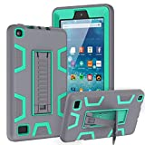 TOPSKY Case Compatible with All-New Amazon Kindle Fire 7 Tablet(9th/7th Generation,2019/2017 Release),Shockproof Rugged Hybrid Armor High Impact Resistant Prtective Case with Kickstand, Grey Green