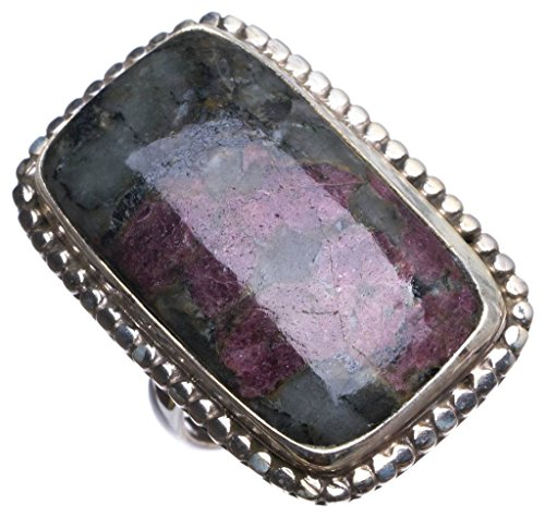 Natural Ruby Zoisite Handmade Vintage 925 Sterling Silver Ring, US size 7.5 T6610