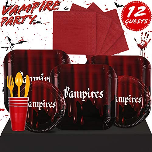 Partybus Party Supplies Set - Serves 12, 93 Ct, Halloween Vampire Theme Party Disposable Tableware Kit for Boys Girls Kids Birthday Decorations, Includes Dinner Plates, Dessert Plates, Napkins, Cups, Table Cloth, Silverware]()