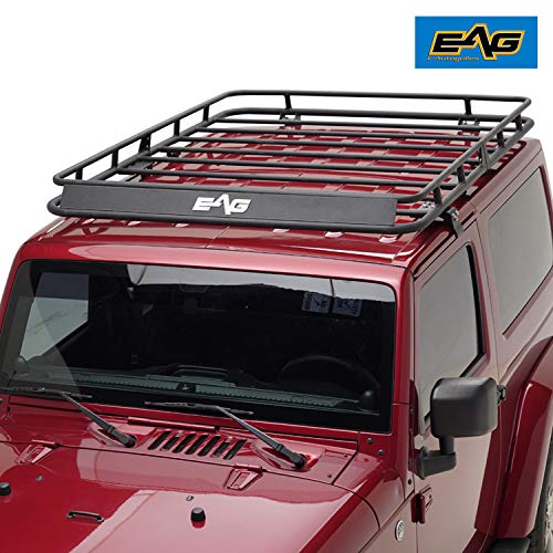 EAG 2 Door Roof Rack Cargo Basket W/Wind Deflector for 07-18 Jeep Wrangler JK (4.9' x 5.5' x 5.5