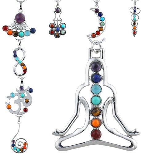 SUNYIK 7 Stone Chakra Healing Pendant fits Necklace,for Women Men by SUNYIK