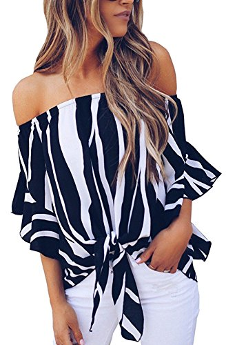 FANEW Women's Chiffon Striped Off Shoulder Bell Sleeve Front Tie Knot T Shirt Blouse Tops Tees