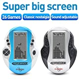 New Tetris Game Console Big Screen Electronic Tetris Intellectual Game Handheld Built-in A-Z 26 games classic nostalgic puzzle game good gift for a child (Sky Blue)