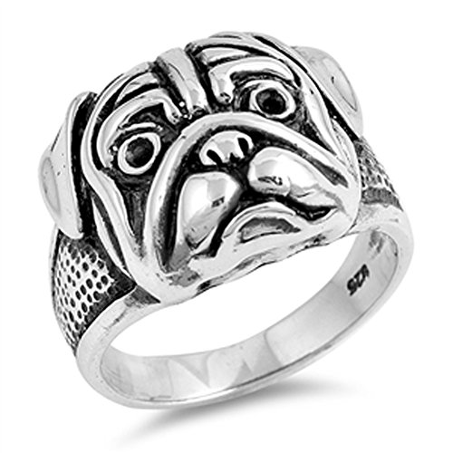 Pit Bull Dog Pug Head Animal Face Ring New .925 Sterling Silver Band Size 7 (Pug Sterling Silver)