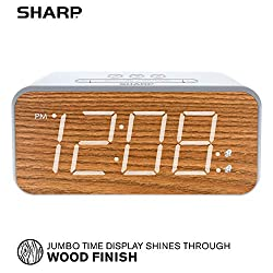 SHARP Dual Alarm with Jumbo Easy to Read 1.8 White LED Display and Faux Wood Finish - 3 Step Dimmer Control - Battery Back-up - SPC736