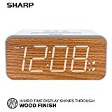 SHARP Dual Alarm with Jumbo Easy to Read 1.8' White LED Display and Faux Wood Finish - 3 Step Dimmer Control - Battery Back-up - SPC736