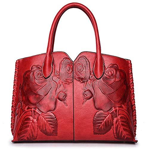 SODIAL Ladies Genuine Leather Bag for Women Red Luxury Handbag Female Embossed Messenger Bag Brand Totes