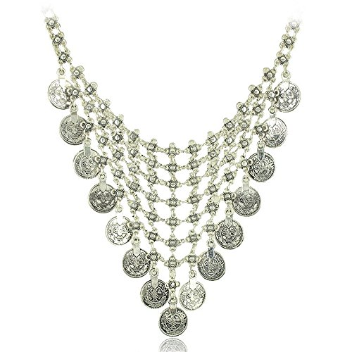 JoJo & Lin Vintage Antique Silver Boho Tribal Jewelry Coins Antique Silver Statement Necklace for Women (306) (Turkish Coin Necklace)