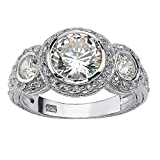 Sterling Silver Round Cubic Zirconia Bezel Set Vintage Style 3-Stone Bridal Ring Size 9