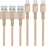 Begonia Nylon Braided USB Cable 3PACK (6FT) Phone Charger Fast Charging Cable Cord Compatible Phone,Pad, Pod and More (Gold)