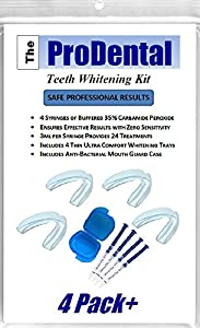 BEST VALUE-Teeth Whitening Gel for 24 treatments with 4 BPA Free Ultra Comfort Dental Guards/Trays plus Storage Case. USA Made with FDA Approved Finest Quality Materials When you purchase the ProDental Teeth Whitening Kit you will receive a 2-in-1 ki...