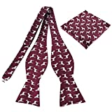 KOOELLE Mens Fashion Self Bow Ties Horses Jacquard Woven Pocket Square & Bowtie Set for Formal