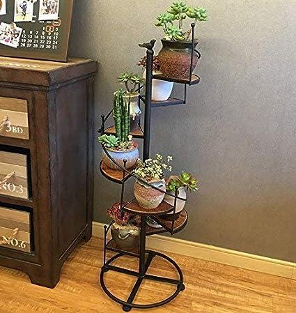 Puesto de flores Soporte de flor estante piso por escalera de caracol de hierro forjado de flores de múltiples capas de madera balcón de flores soporte de madera soporte ( Size : 40*40*120cm )