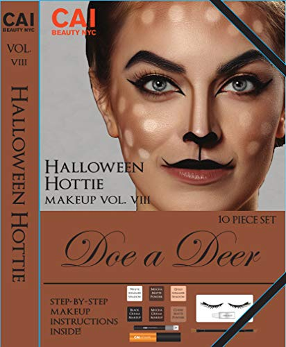 10-Piece Makeup Set Halloween Hottie Costume FX Face Paint Make Up Kit for Adults, Doe a Deer -