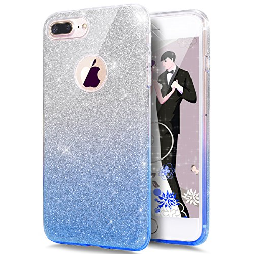 Price comparison product image iPhone 8 Plus Case,iPhone 7 Plus Case,ikasus iPhone 8 Plus Cover [Gradient Blue Bling Glitter] Premium 3 Layer Hybrid Semi-transparent Shinning Sparkle Bling Glitter Case for iPhone 8 Plus / 7 Plus