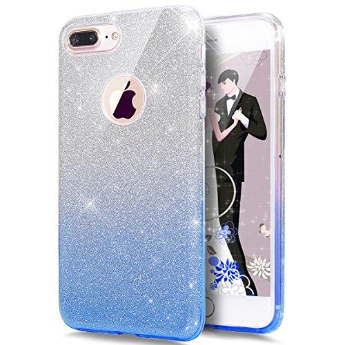 Price comparison product image iPhone 8 Plus Case, iPhone 7 Plus Case, ikasus iPhone 8 Plus Cover [Gradient Blue Bling Glitter] Premium 3 Layer Hybrid Semi-transparent Shinning Sparkle Bling Glitter Case for iPhone 8 Plus / 7 Plus