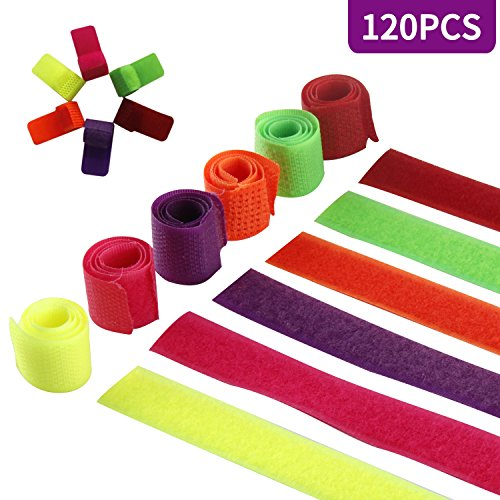 120 PCS Fastening Cable Ties, Kictero Velcro Cable Straps Wire Organizer, Reusable Cord Straps, Special Design Cord Ties Management for Tablet PC TV