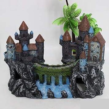 Resin Castle Fish Tank Decoration Aquariums Landscaping Ornaments Rockery House