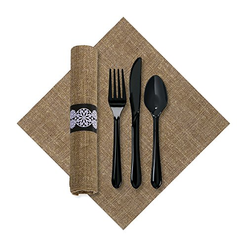 Hoffmaster 120006 FashnPoint Burlap CaterWrap with Print Dinner Napkin and Black Cutlery, Pre-Rolled, 15.5
