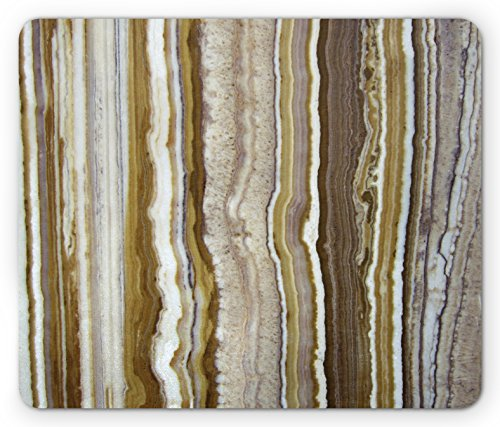 Onyx Vertical Line (Marble Mouse Pad by Ambesonne, Onyx Marble Rock Themed Vertical Lines and Blurry Stripes in Earth Color Print, Standard Size Rectangle Non-Slip Rubber Mousepad, Mustard Brown)