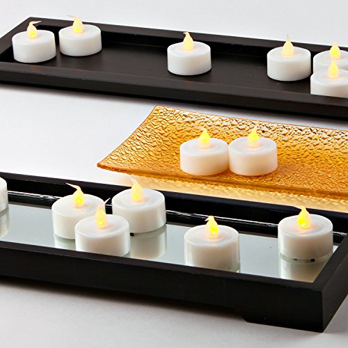 LampLust 100 White Flameless Tea Lights with Realistic Flickering Amber LED, Value Pack, Resin, Indoor/Outdoor Use, Batteries Included by LampLust (Image #1)
