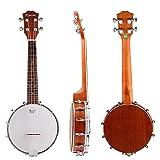 Kmise 4 String Banjo Ukulele Banjo lele Uke Concert 23 Inch Size Sapele Wood