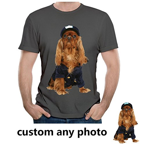 Dog Pet Lover Custom Mens Photo T Shirts Design Your Own Picture Soft Cotton Tee(DeepHeather XL) (Dog T-shirts Personalized)