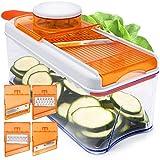 Adjustable Mandoline Slicer – 5 Blades – Vegetable Cutter, Peeler, Slicer, Grater & Julienne Slicer – Orange