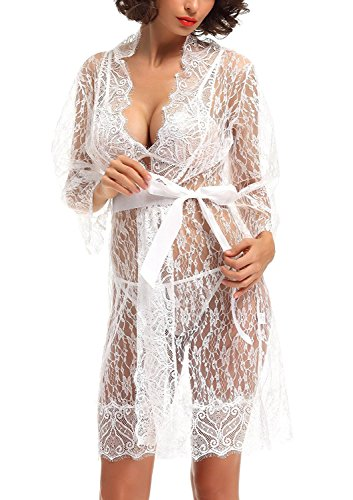 HuoGuo Women Sexy Perspective Robe Babydoll Nightgown with Lace Bra G-sting and Belt (Halloween Makeup Tutorial Fx)