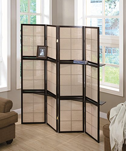 Review Monarch Specialties 4-Panel Folding Screen with 2 Display Shelves, Cappuccino By Monarch Specialties by Monarch Specialties