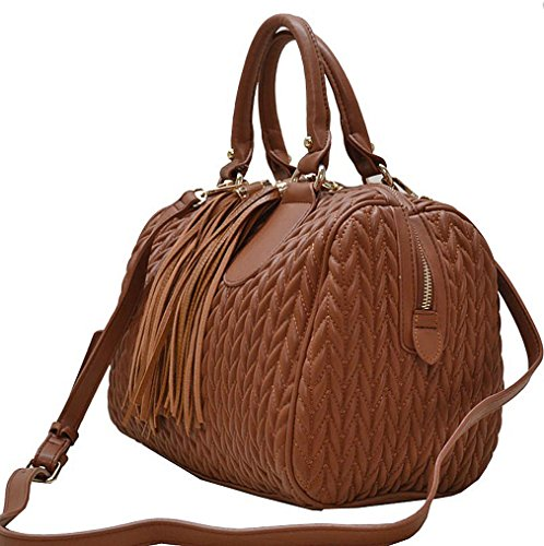 Fringe Handbag Quilted Strap Republic Weekender Brown w Satchel Boston Pulls YYqCfSA