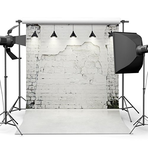 Dudaacvt 5x7ft White Brick Wall Photography Backdrop Vinyl Customized Seamless Photo Background with Lights Waterproof Studio Prop Q0030507