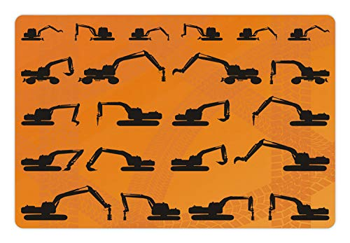 (Ambesonne Construction Pet Mat for Food and Water, Excavator Black Silhouettes Tire Traces Track Machinery Industry Technology, Rectangle Non-Slip Rubber Mat for Dogs and Cats, Orange Black)
