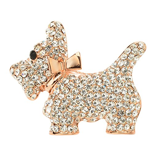 Ginasy Full Crystal Cute Dog Pin Brooch Moves with Gold Alloy Bow - Sterling Silver Butterfly Brooch Pin
