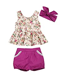 i-Auto Time Newborn Baby Girl Clothes Floral Ruffle Shirt+Short Pant Outfit Shorts Set