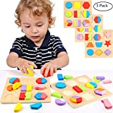 Lewo Wooden Geometric Chunky Shape Puzzles Sorting Game Early Development Educational Toys Pack of 3