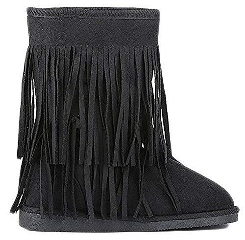 Women's Classics Winter Snow Boots with Soft Faux Fur Fringes (6, Black)