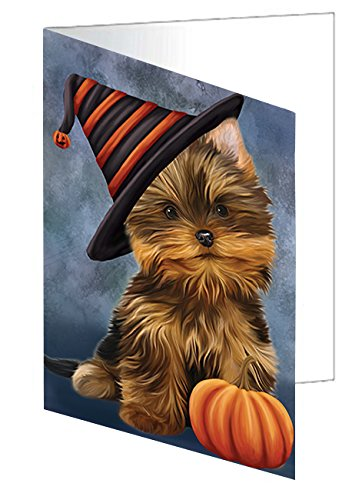 Happy Halloween Yorkshire Terrier Dog Wearing Witch Hat with Pumpkin Greeting Card D193 (20)