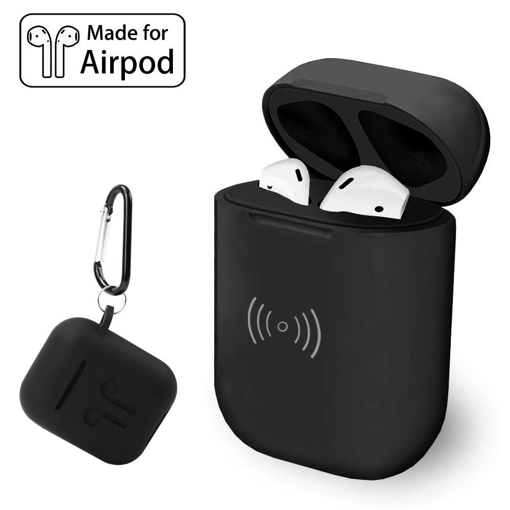 Wireless Charging Case for Airpods with Free Silicone Protective Cover, Lightweight Original Size Charger with 450mAh Built-in Battery for 5 Time Full Charge(Only Power Charging, No Pairing Button)