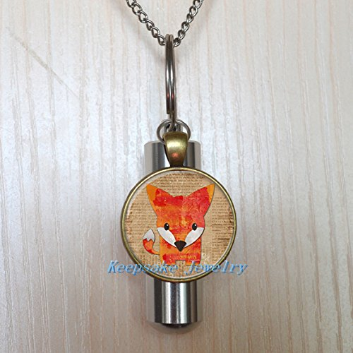 (Fox Urn Necklace Jewelry - Fox Cremation Necklace Jewelry - Ashes Necklace Jewelry - Memorial Jewelry,Fox Cremation souvenir,Memorial Urn,funeral locket)