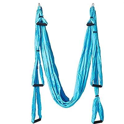 Alger Balançoire aérienne de yoga Swing Hamac 6 poignées maison hamac de remise en forme inversée, 250 * 150cm , Lake blue