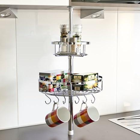 bremermann Küchen-Teleskopregal inkl. 2 Körben und 6 Haken, 6411
