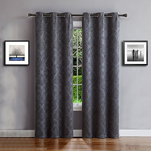 Warm Home Designs 1 Pair 2 Panels of Grey Charcoal Insulated Thermal Blackout Curtains with Embossed Textured Flower Pattern Each Grommet Top Window Panel is 38quot X 96quot in Size EV Charcoal 38x96