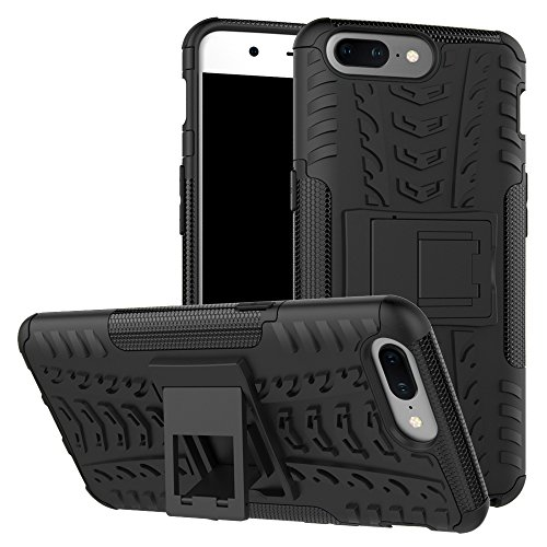 Price comparison product image Oneplus 5 Case,Mustaner Dual Layer Shock-Absorption Armor Cover Full-body Protective Case with Kickstand Combo PC+TPU Back for Oneplus 5 A5000(Black)