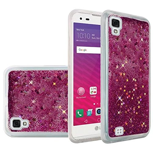 we3dcell LG TRIBUTE HD CASE LS676 / VOLT 3 CASE / X STYLE Case - Transparent Floating Liquid Glitter soft TPU Waterfall bling Cover (HOT PINK)
