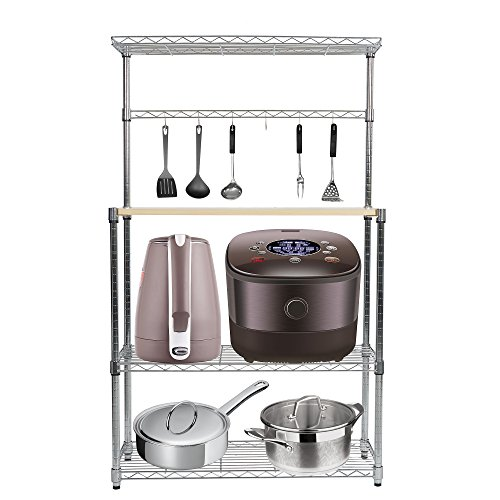 KARMAS PRODUCT 4 Tier Baker's Rack Microwave Shelf,Kitchen Storage Free Standing Workstation with 6 hooks,Chrome Stainless Finish,Size (Freestanding Island)