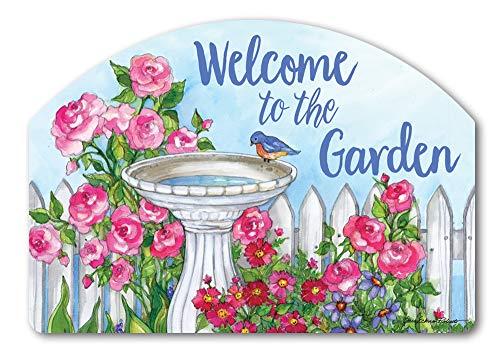 Yard DeSigns Studio M Backyard Birdbath Spring Summer Floral Decorative Yard Sign Magnet, Made in USA, Superior Weather Durability, 14 x 10 Inches