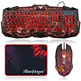 Best Game Keyboards - Gaming keyboard, BlueFinger USB Wired 3 Color LED Review