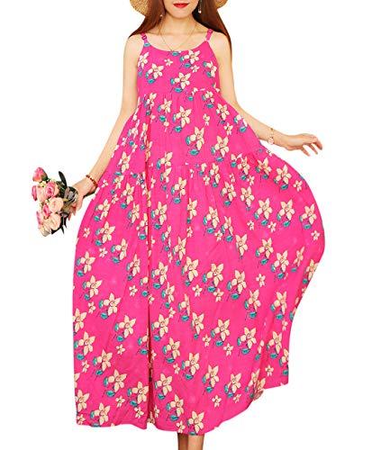 YESNO Women Casual Loose Bohemian Floral Print Empire Waist Spaghetti Strap Long Maxi Summer Beach Swing Dress E75 (M, E75 As Picture42)