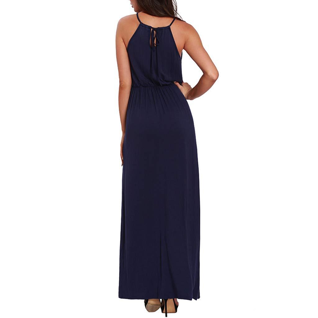 Women Halter Neck Shift Maxi Dress Summer Casual Hollow Out Spaghetti Strap Sleeveless Solid Long Beach Tank Dresses (Medium, Navy) by LANTOVI Women Dress (Image #3)